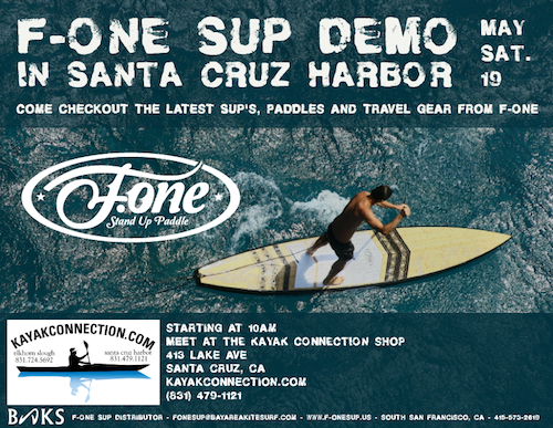 F-One SUP boards demo at Kayak Connection in Santa Cruz